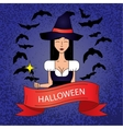 Linear icon with cute Halloween witch in purple vector image vector image