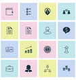 management icons set collection of coin vector image vector image