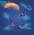 men and women doing extreme sportish activity vector image