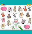 one a kind game with farm animal characters vector image vector image
