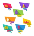 Origami Paper Banners with Halloween Symbols vector image