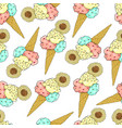pattern of ice cream in a waffle cone three vector image vector image
