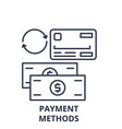 payment methods line icon concept payment methods vector image vector image