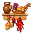 provision from onions jug of milk pepper and jam vector image vector image