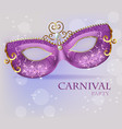 purple ornamented mask close up realistic vector image vector image