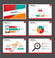 Red Yellow green presentation templates set vector image vector image