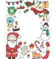 round frame of christmas decorations vector image vector image
