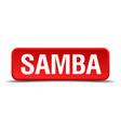 samba red 3d square button isolated on white vector image