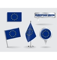 Set of European Union pin icon and map pointer vector image
