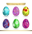 set realistic eggs on white background easter vector image vector image