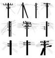 set silhouettes power line poles vector image vector image