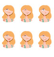 set woman face icons vector image