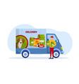 smiling male courier delivering dog food vector image