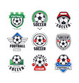 soccer league or tournament logo templates set vector image vector image