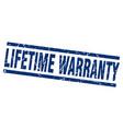 square grunge blue lifetime warranty stamp vector image