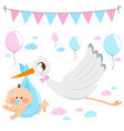 stork delivering a new baby vector image vector image