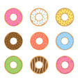 sweet donut set vector image