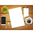 Top view of stationary pen pencil eraser vector image vector image