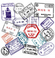 travel and visa passport stamps background vector image vector image