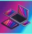 trendy gadgets isometrics technology vector image