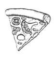 vegetarian italian slice pizza monochrome vector image vector image