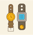 wristwatch smart watch old and new vector image