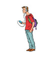 young man teenager headphones and smartphone vector image