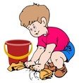 Boy cleaning the floor vector image
