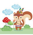 chipmunk woodland animal with feather crown vector image