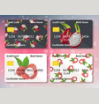design for credit card with pitahaya and lychee vector image