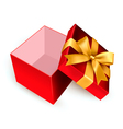 Open red gift box with golden ribbon vector image
