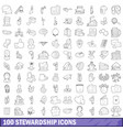 100 stewardship icons set outline style vector image vector image