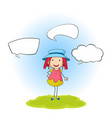 a doodle girl with speech balloon vector image vector image