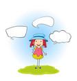 a doodle girl with speech balloon vector image vector image