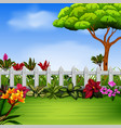 beautiful garden with the fance and flowers vector image vector image