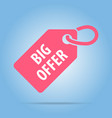 big offer tag red color vector image vector image