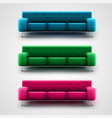 blue green and pink couches vector image vector image