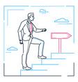 businessman climbing a ladder - line design style vector image