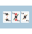 Businessman on Jack Queen King playing card vector image vector image