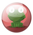 cartoon character of a green frog sitting in red vector image