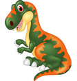cartoon happy tyrannosaurus vector image vector image