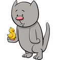cat with canary cartoon vector image