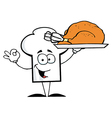 Chef Hat Guy Serving a Turkey vector image vector image