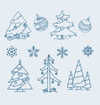 Christmas doodle elements collection vector image