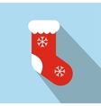 Christmas red sock flat icon vector image