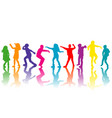 colorful group of children silhouettes dancing vector image vector image