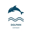 design logo with dolphin and label vector image