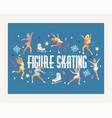 figure skating backdrop girl character skates on vector image vector image