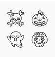 Flat linear Halloween icons set vector image vector image