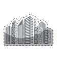grayscale buildings and city scene line sticker vector image vector image